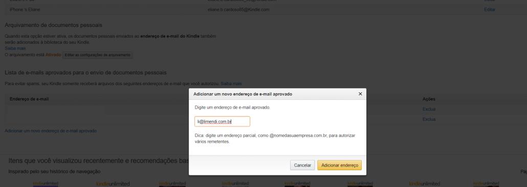 Incluir e-mail para enviar arquivos para kindle