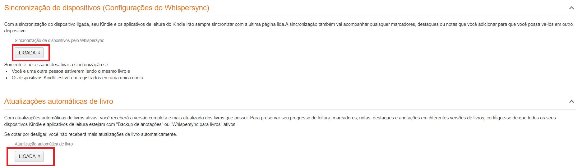 Sincronizar seus livros para receber atualização automática no aplicativo Kindle da Amazon