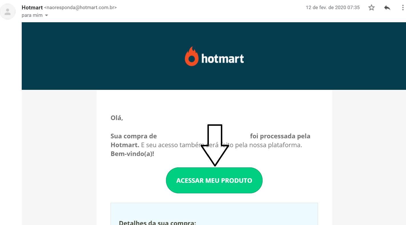 E-mail para acessar o curso na Hotmart