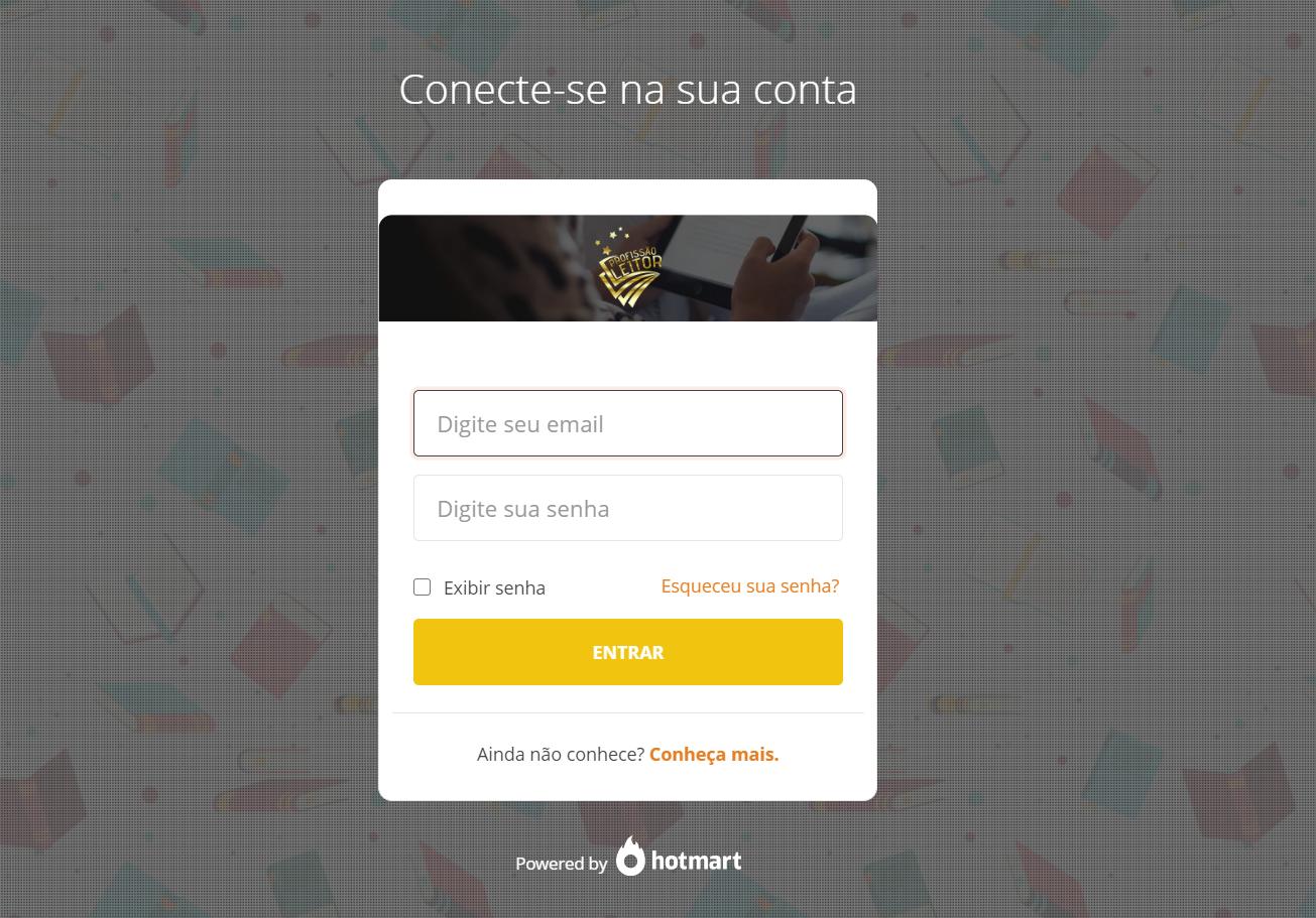 PÁGINA DE LOGIN CURSO PROFISSÃO LEITOR
